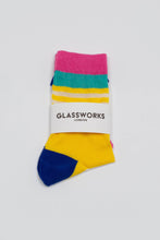 Load image into Gallery viewer, Yellow cobalt and pink multistripe sheer socks_PFFBA1