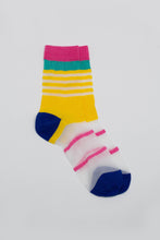 Load image into Gallery viewer, Yellow cobalt and pink multistripe sheer socks_PFFBA2