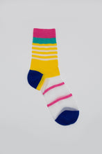 Load image into Gallery viewer, Yellow cobalt and pink multistripe sheer socks_PFFBA3