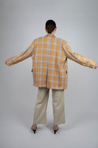 22843_Orange and yellow checked oversized blazer_MFBBA2