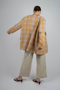 22843_Orange and yellow checked oversized blazer_MFBBA3