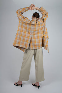 22843_Orange and yellow checked oversized blazer_MFBBA4