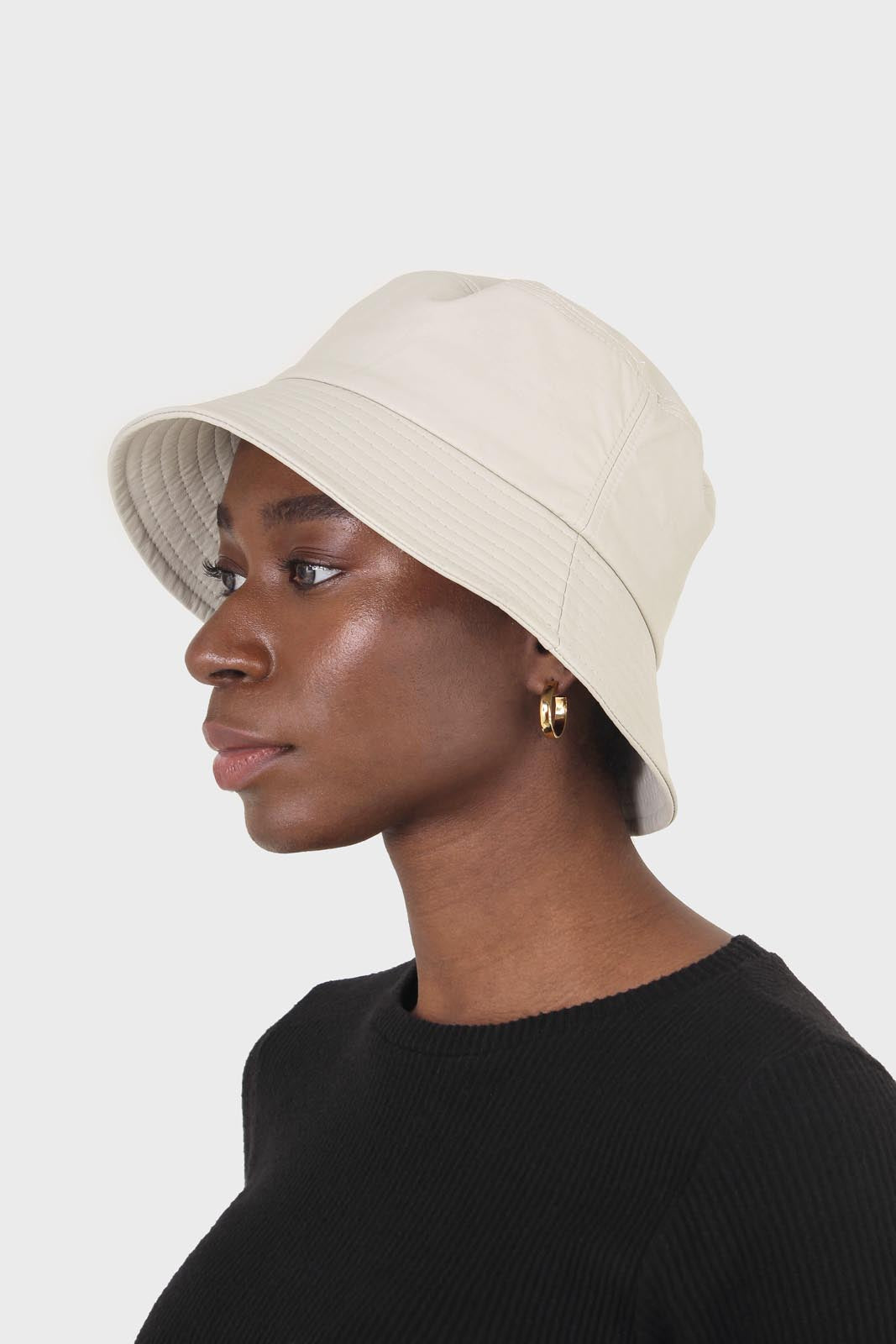 Ivory vegan leather bucket oversized bucket hat2