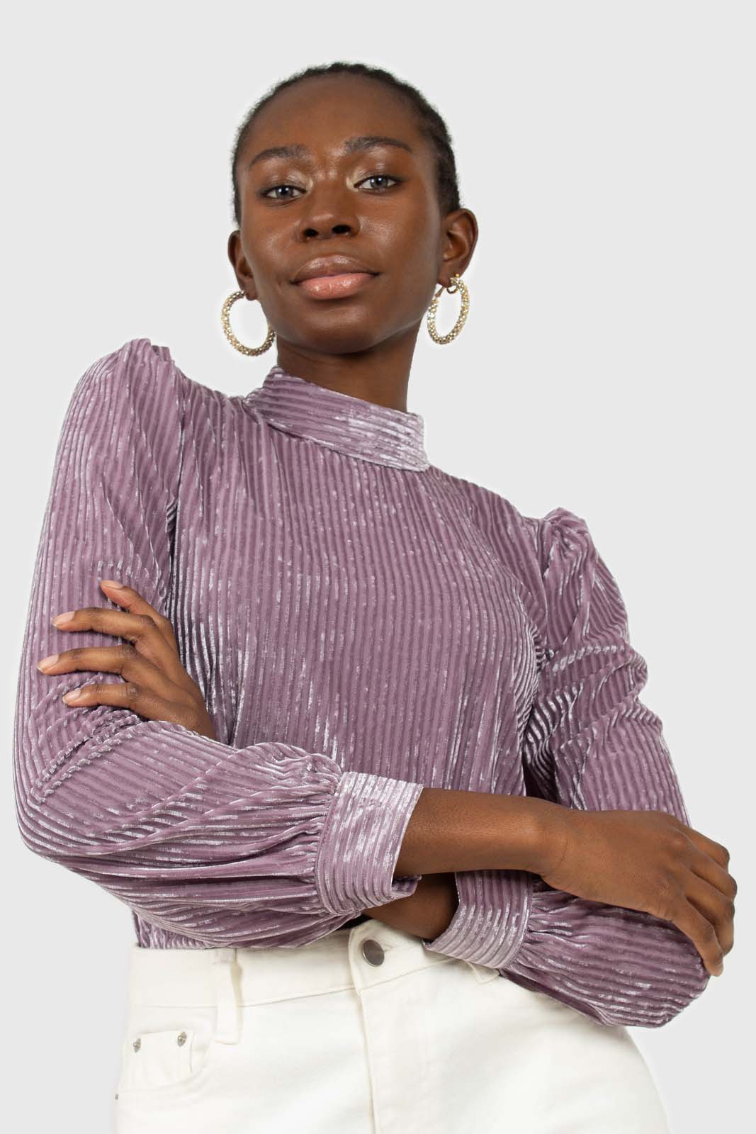 Lilac ribbed velvet long sleeve mock neck top2