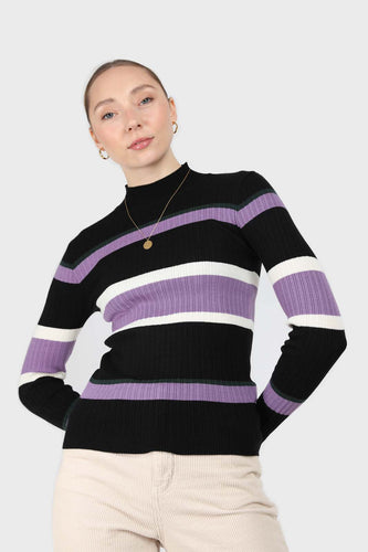 Black and lilac multi stripe long sleeve top1sx