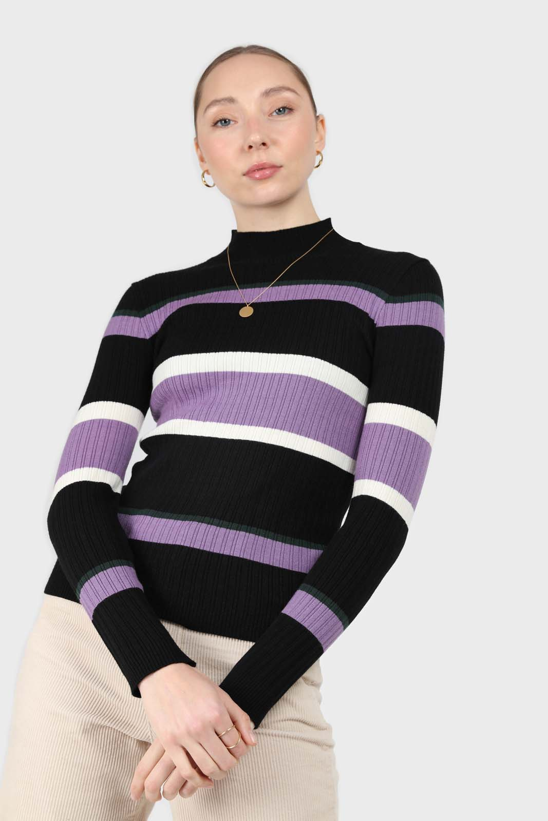 Black and lilac multi stripe long sleeve top2