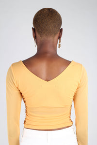 Orange ruched front sheer long sleeve top_3