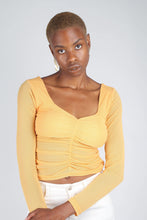 Load image into Gallery viewer, Orange ruched front sheer long sleeve top_1
