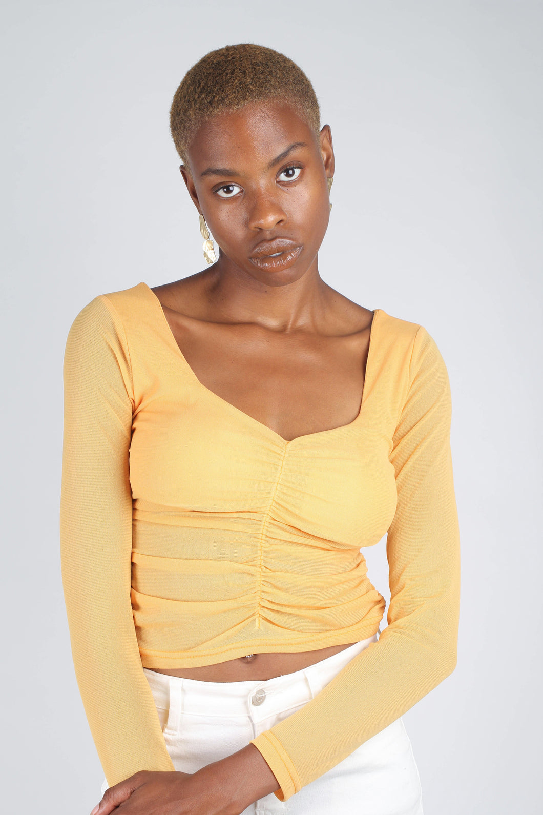 Orange ruched front sheer long sleeve top_1