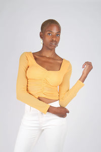 Orange ruched front sheer long sleeve top_2