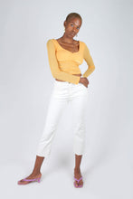 Load image into Gallery viewer, Orange ruched front sheer long sleeve top_4