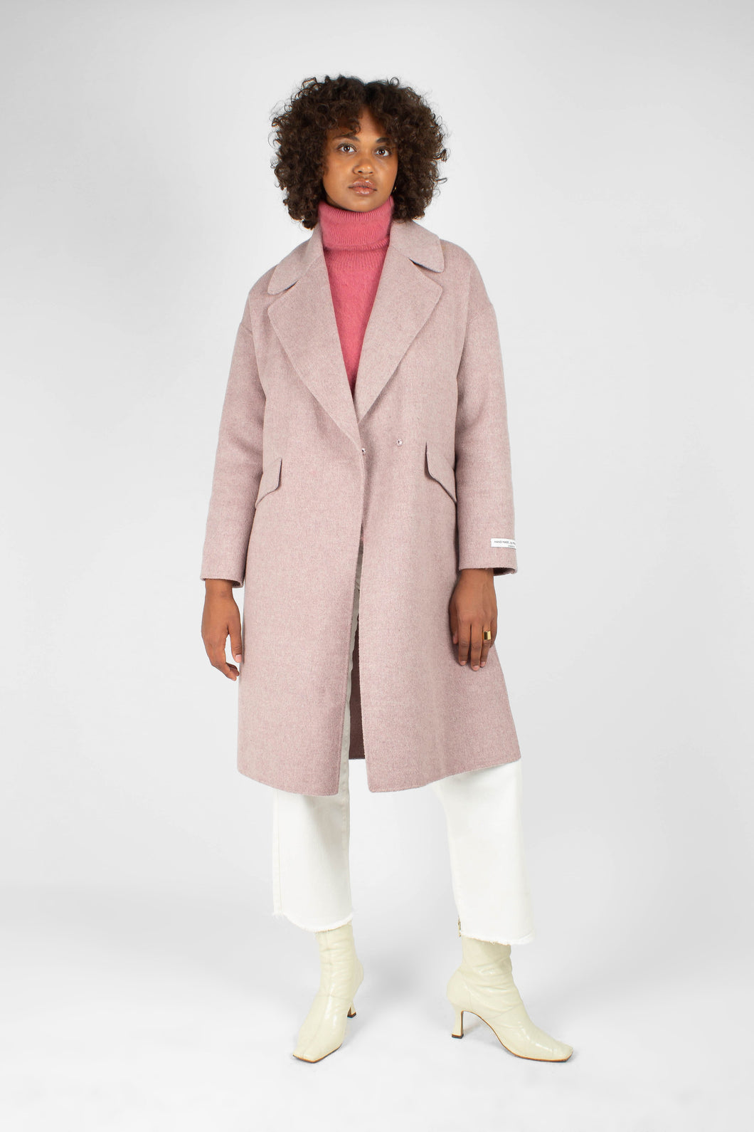 Lilac single breasted oversized wool coat1
