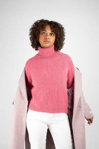 Lilac single breasted oversized wool coat7