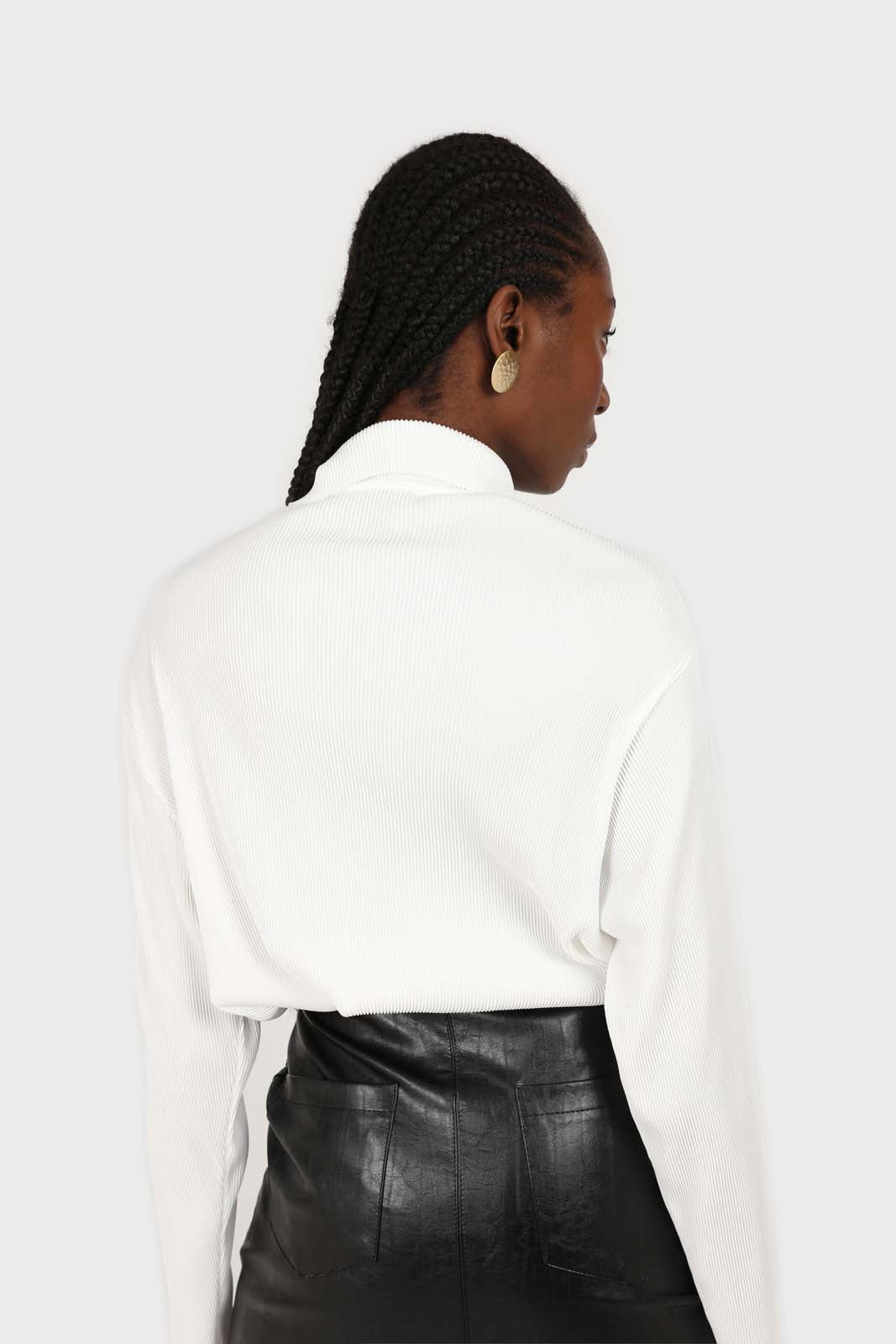 White micro pleated long sleeved shirt 1