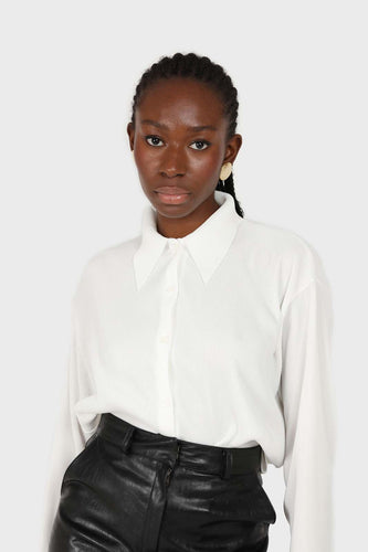 White micro pleated long sleeved shirt sx