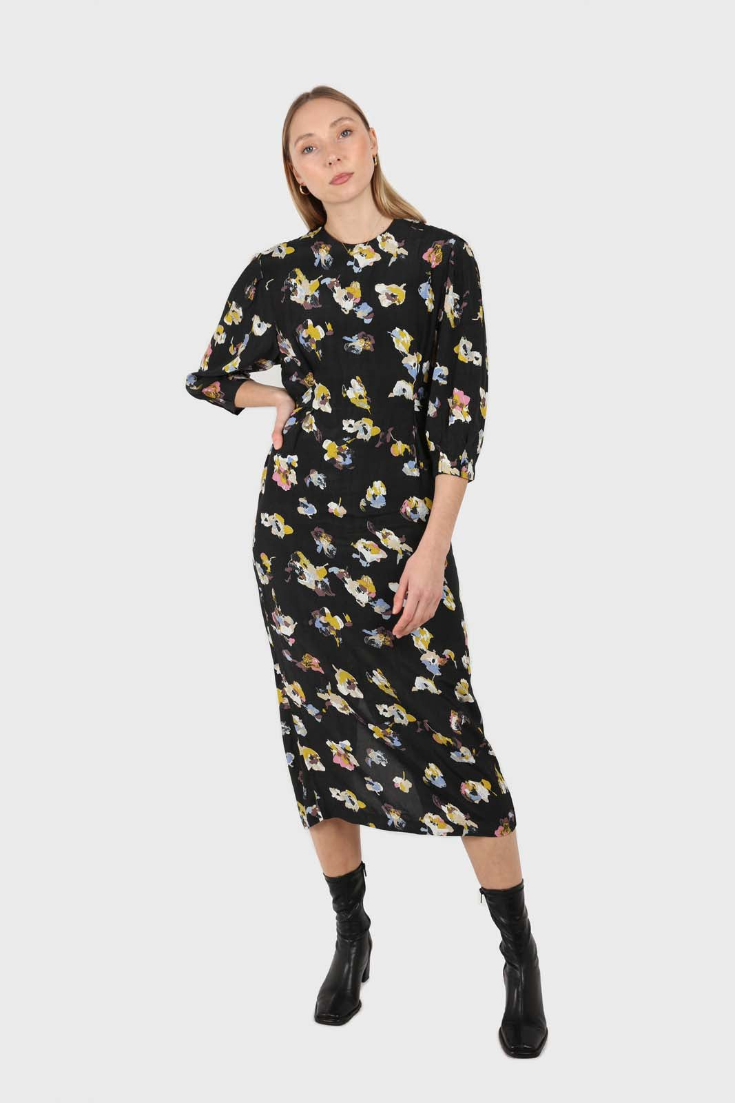 Black floral bias cut long sleeved maxi dress1