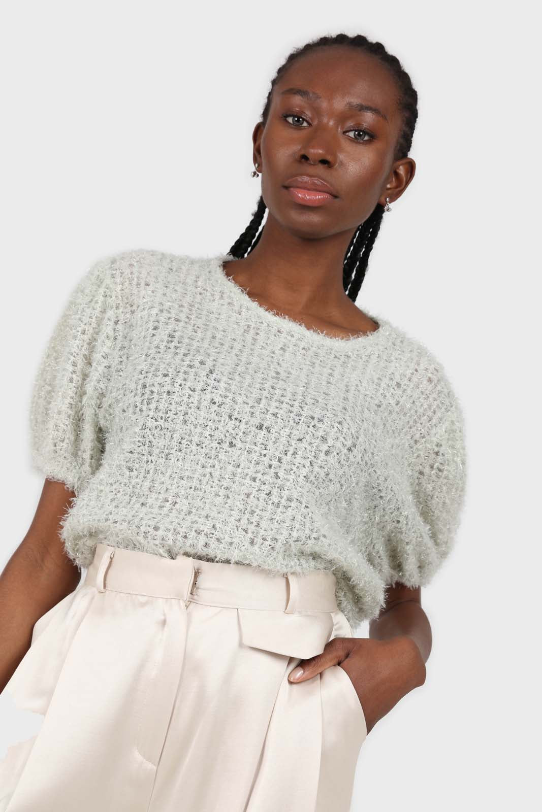 Mint green fuzzy short sleeved jumper 2