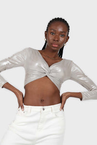 Silver twist front long sleeved crop top 2