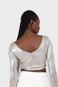 Silver twist front long sleeved crop top 3
