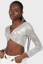 Load image into Gallery viewer, Silver twist front long sleeved crop top sx