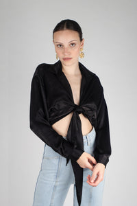 22919_Black textured silky plunging tie front shirt_MCFBA1