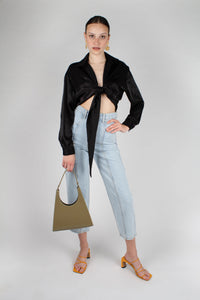 22919_Black textured silky plunging tie front shirt_MFFBA1