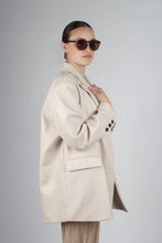Load image into Gallery viewer, 22921_Ivory vegan leather oversized blazer_MCSBA1
