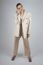 Load image into Gallery viewer, 22921_Ivory vegan leather oversized blazer_MFFBA1