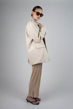 Load image into Gallery viewer, 22921_Ivory vegan leather oversized blazer_MFSBA2