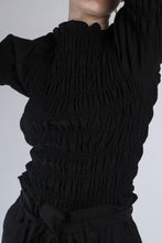 Load image into Gallery viewer, 22926_Black ruched bodice peasant blouse_MCSBA2