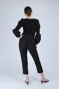 22926_Black ruched bodice peasant blouse_MFBBA1