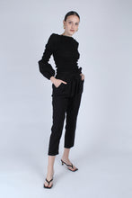 Load image into Gallery viewer, 22926_Black ruched bodice peasant blouse_MFFBA1