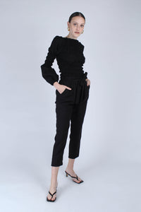 22926_Black ruched bodice peasant blouse_MFFBA1