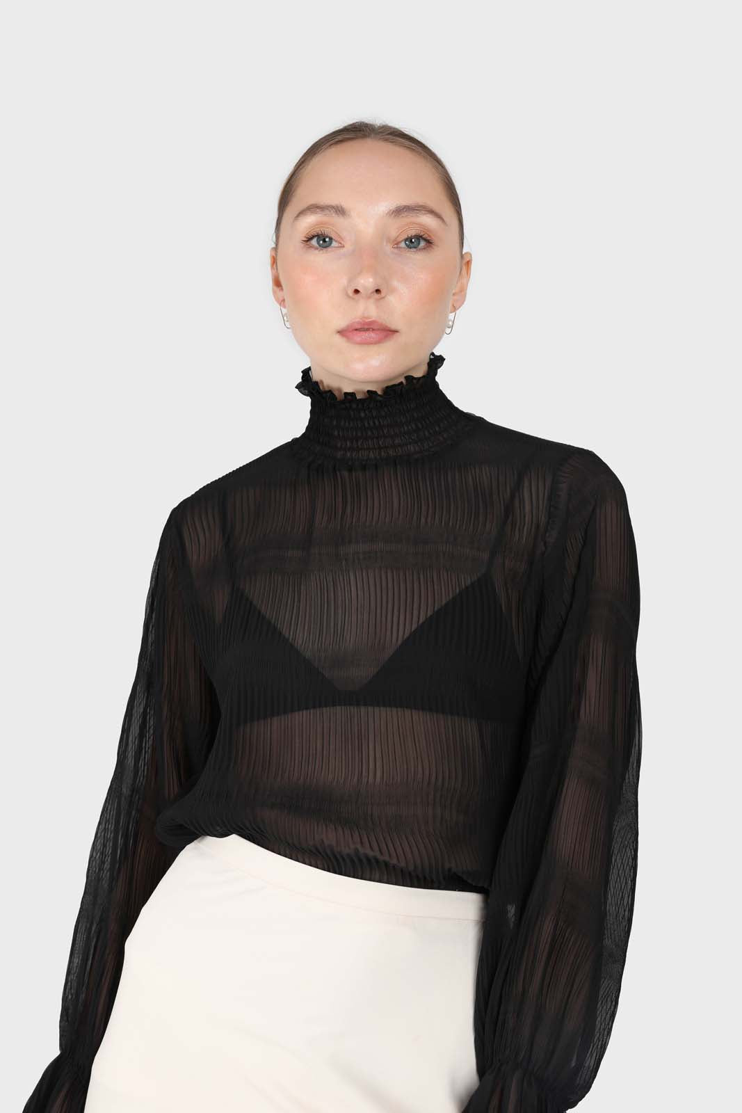 Black shirring neck sheer tiered blouse2