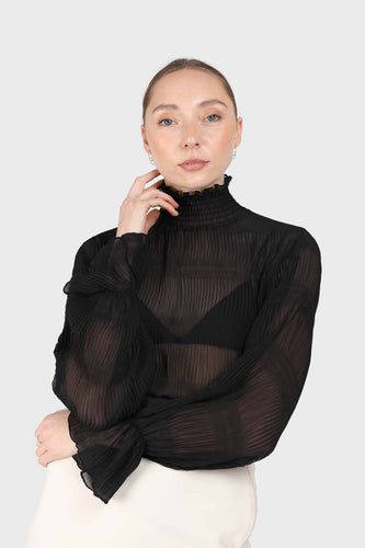 Black shirring neck sheer tiered blouse1sx