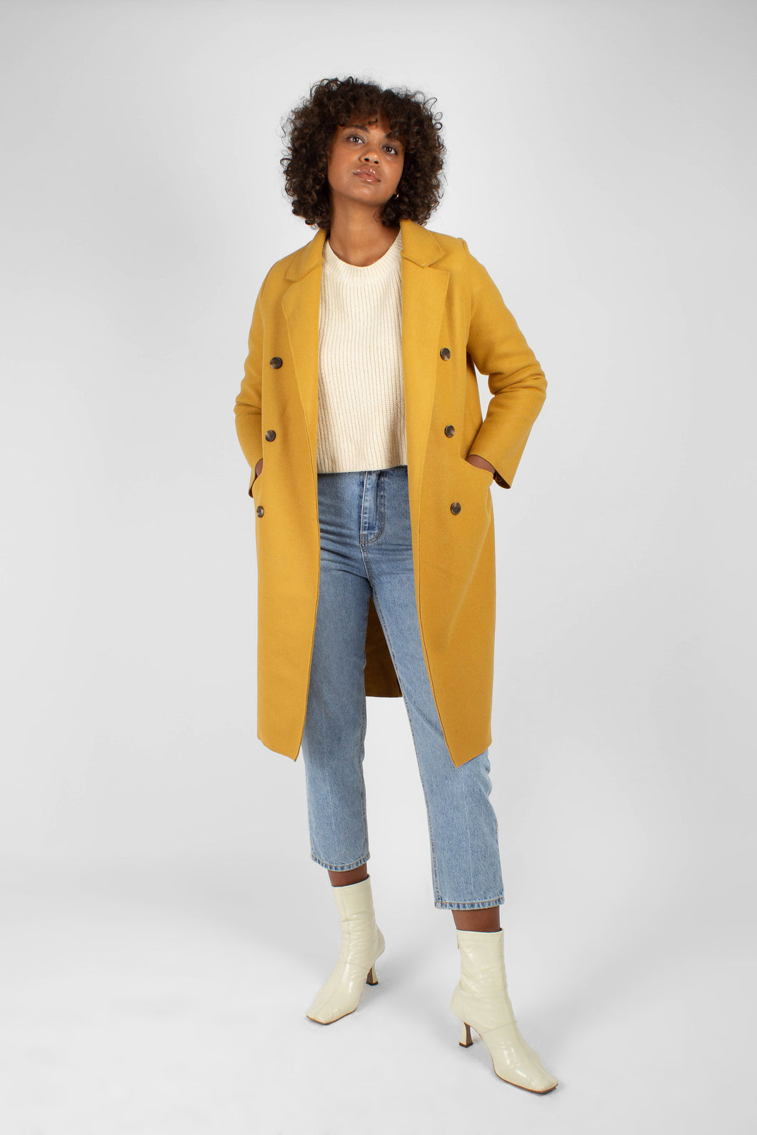 Mustard single breasted long coat1