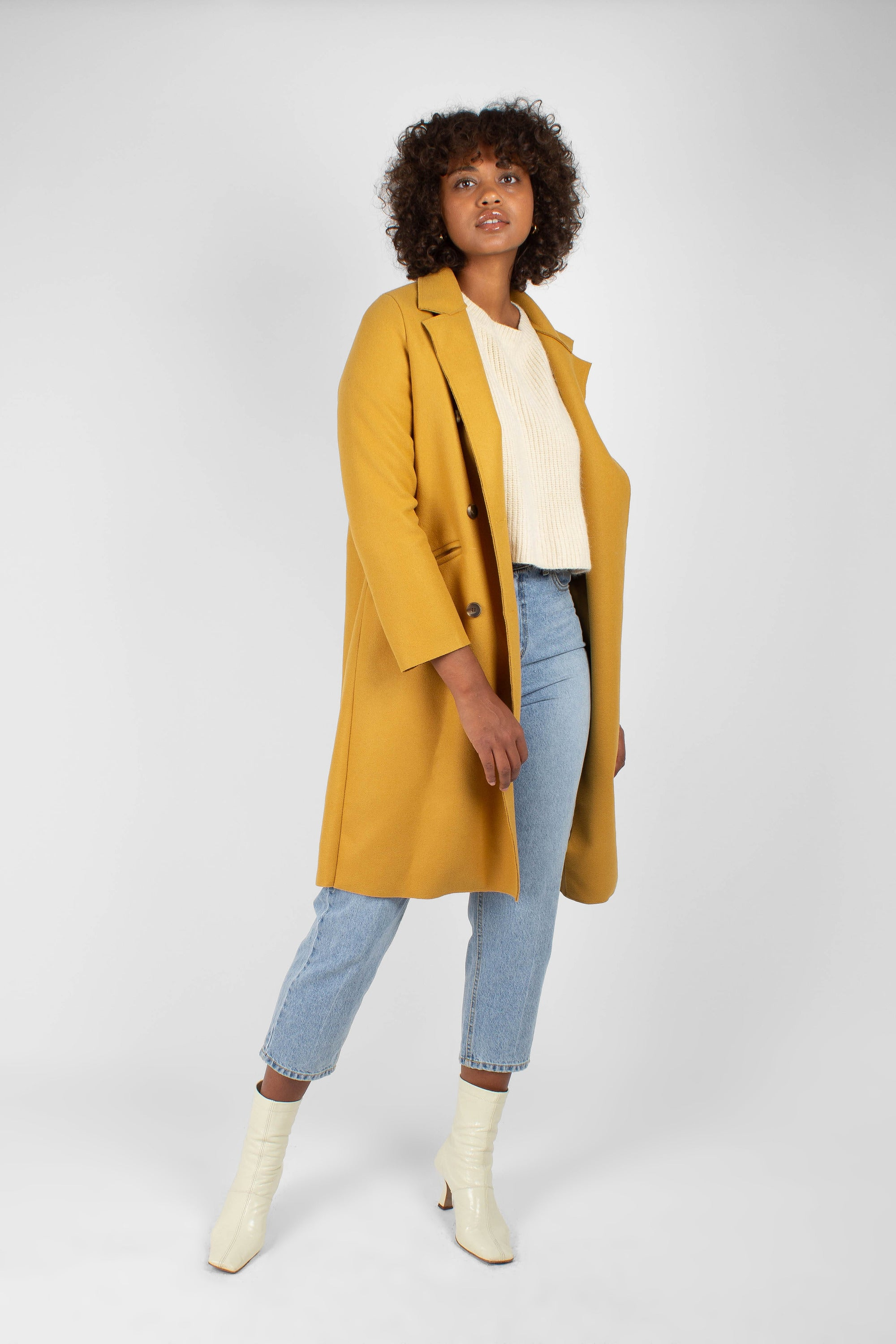Mustard single breasted long coat2