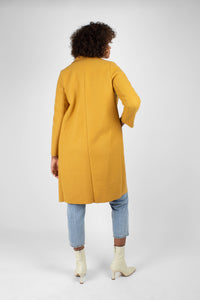 Mustard single breasted long coat3