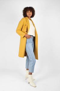 Mustard single breasted long coat4