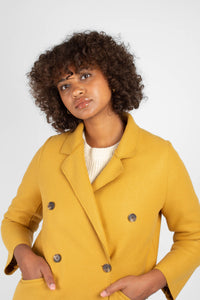 Mustard single breasted long coat5
