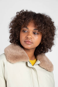Pale khaki fur collar puffer jacket9