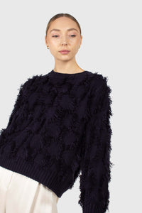 Navy wool patch fringe jumper1