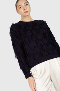 Navy wool patch fringe jumper2