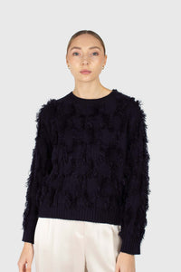 Navy wool patch fringe jumper3