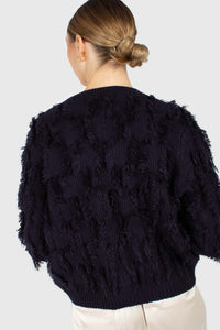 Navy wool patch fringe jumper4
