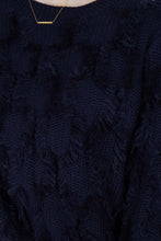 Load image into Gallery viewer, Navy wool patch fringe jumper5