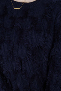 Navy wool patch fringe jumper5