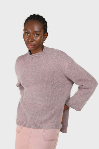 Lilac mock neck open back angora jumper1sx