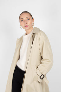 Beige single breasted back detail trench coat2