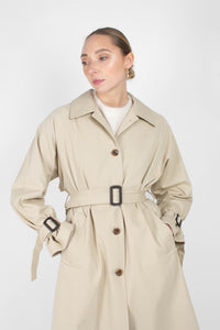 Beige single breasted back detail trench coat3